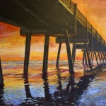 Jacksonville Pier, 10' x 6' impressionist painting by abstract art, modern art, artist Amy Donladson