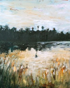 Florida Marsh, 2011, Oil on Canvas, 14 x 10 in. Amy Donaldson, Oil painting, abstract art. Ponte Vedra Beach, Florida.