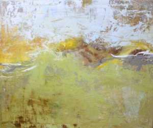 Mercy, 2010, Pigment and Texture on Canvas, 36 x 48 in. Large abstract with green and yellow, mixed media contemporary painting jacksonville, Florida, abstract artist