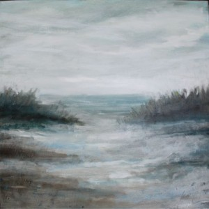 Florida Coast, 2011, Oil on Canvas, 20 x 20 in. , Abstract sandy Beach painting, impressionist by Florida abstract artist Amy Donaldson