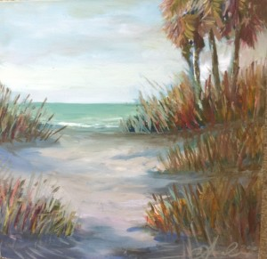 oil on canvas, oil painting, beach, shore, beach painting