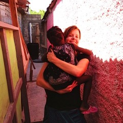 Artist Amy Donaldson in Orphanage in Haiti with Church