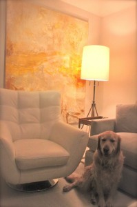 abstract painting on wall with golden retriever
