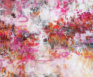 Adore, 2012, Oil and Spray Paint on Canvas, 60 x 72 in. abstract art, Amy Donaldson