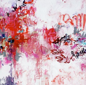 Everlasting Compassion, 2012, Oil and Spray Paint on Canvas, 71 x 71 in. abstract art, © Amy Donaldson