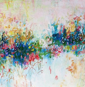 One Glimpse, Oil on Canvas, 60 x 60 in. © 2013 Amy Donaldson, abstract art, painting, pinks