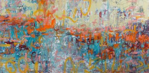Stay the Course Oil on Canvas, Amy Donaldson abstract painting