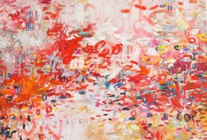abstract art, painting, amy donaldson, oil on canvas, chicago, red painting,